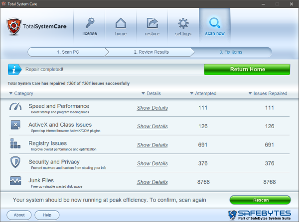 Total System Care optimizer windows