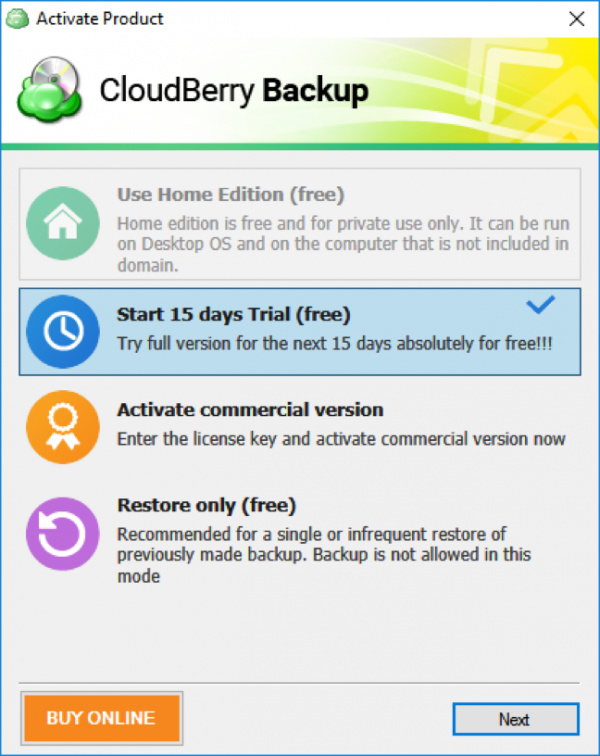 Cloudberry-backup-trial