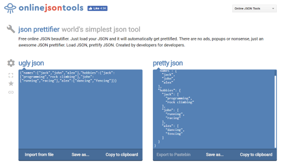 Online JSON Tools offer a set of useful tools to deal with JSON