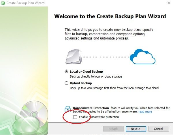 CloudBerry Backup for Windows desktop