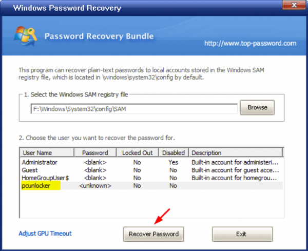 Windows Password Recovery 7