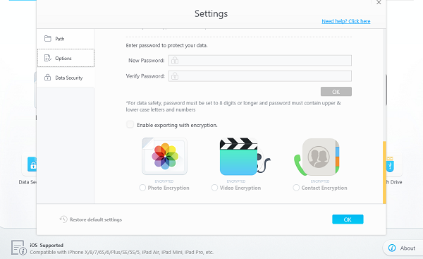 enable Encryption for the photos you import