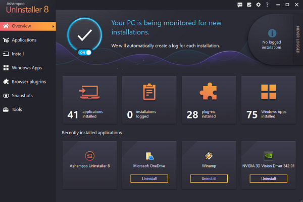 Ashampoo Uninstaller Dashboard