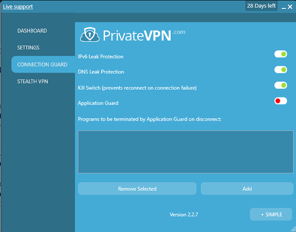 PrivateVPN Connection Guard