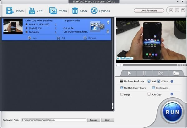 WinX HD Video Converter Video Final Output