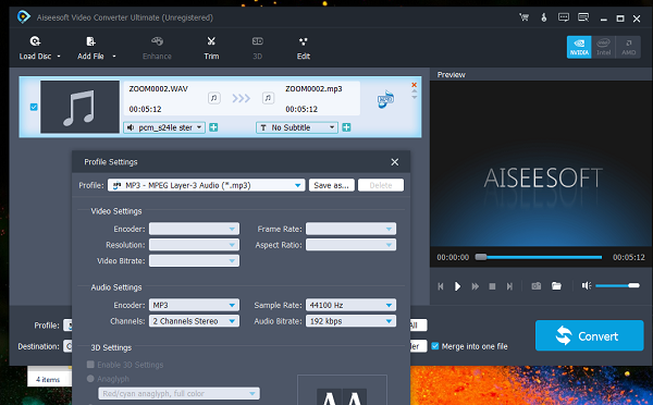 Aiseesoft Video Converter Audio