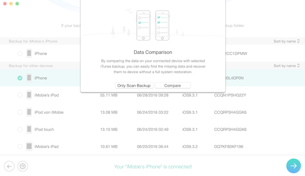 Compare Phone and iTunes Backup Data