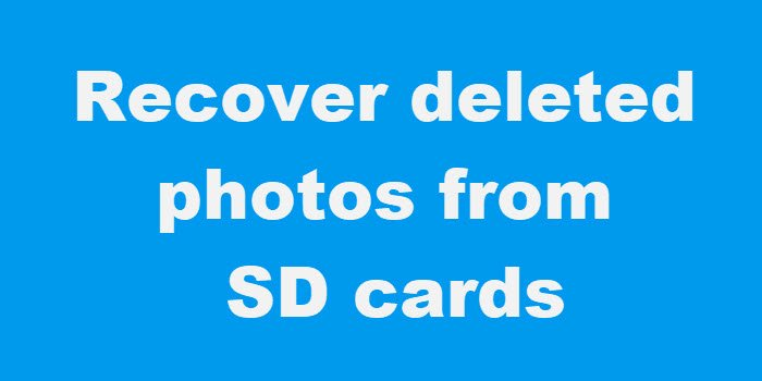 Recover deleted photos from SD cards