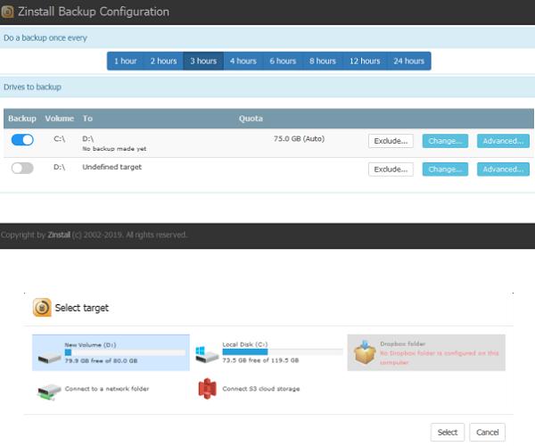 Backup Configuration Zinstall FullBack