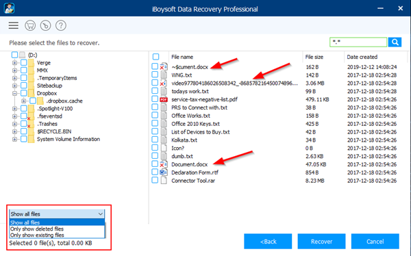 Recover Deleted Files Marked with red cross
