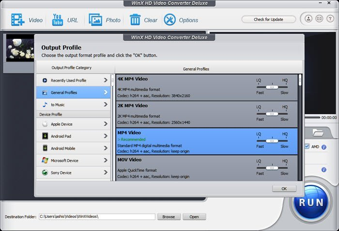 WinX HD Video Converter Deluxe Profiles