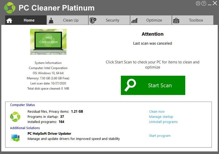 PC Cleaner Dashboard