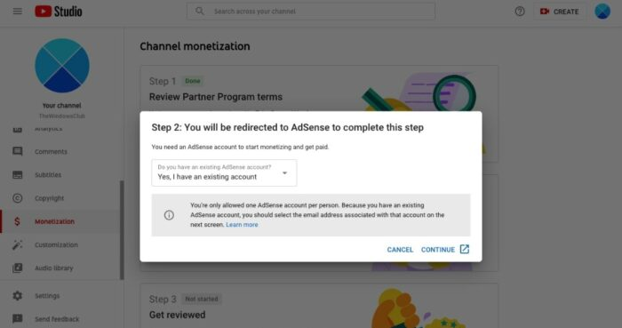 YouTube to Adsense Connect Process